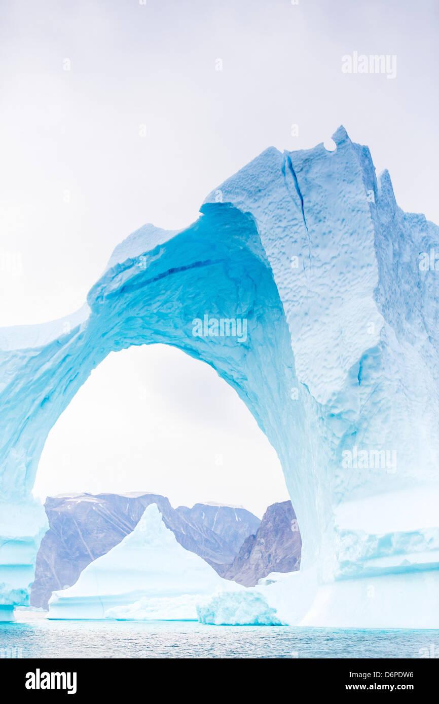 Grounded icebergs, Sydkap, Scoresbysund, Northeast Greenland, Polar Regions - Stock Image