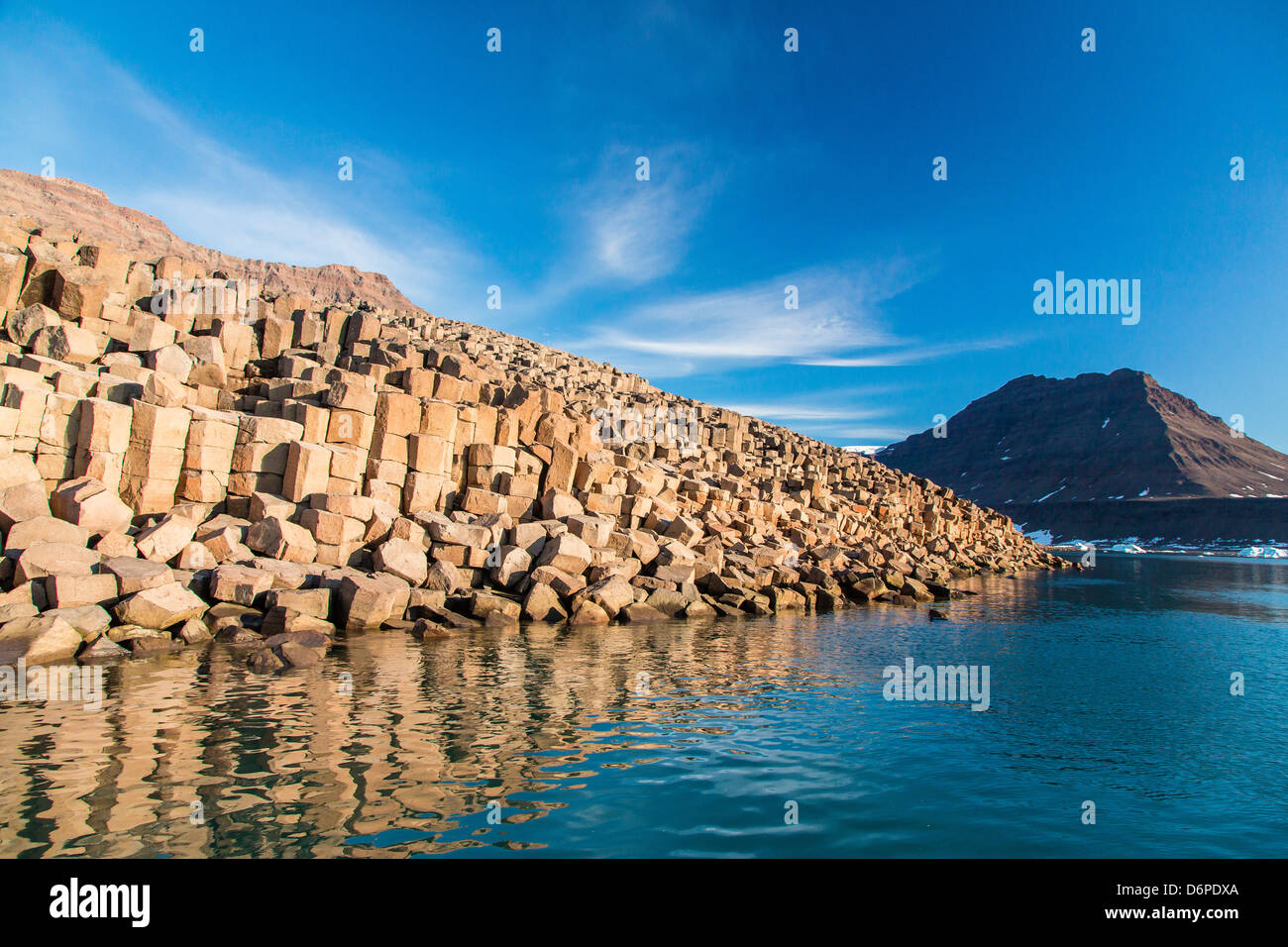 Columnar basalt, Vikingbukta (Viking Bay), Scoresbysund, Northeast Greenland, Polar Regions - Stock Image