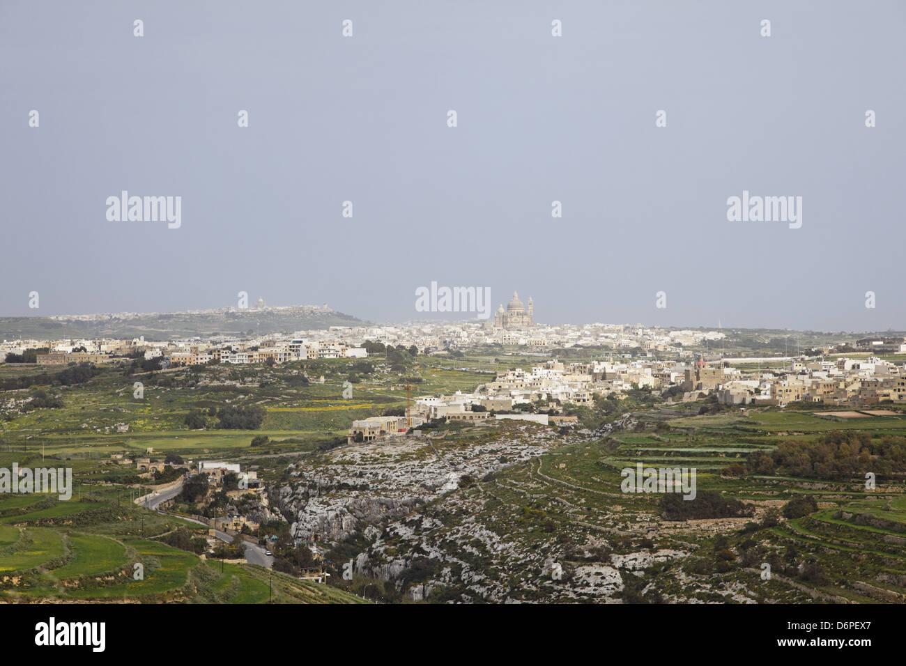 Malta, Gozo, Xlendi, View of Xewkija, city, church peaceful, harmonious, Malta, Gozo, Xlendi, Blick auf Xewkija, - Stock Image