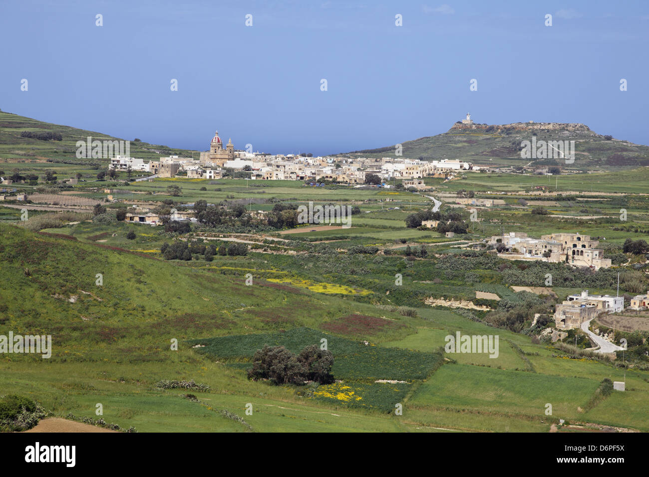 Malta, Gozo Victoria Rabat, view from the Citadel, overlooking Gharb city peaceful, harmonious, Malta, Gozo, Victoria - Stock Image