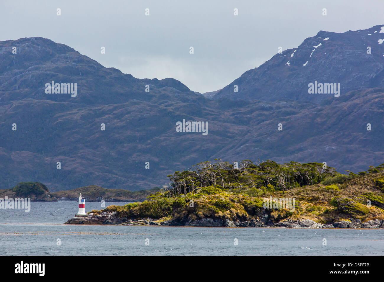 Navigation aid in the Strait of Magellan, Patagonia, Chile, South America - Stock Image