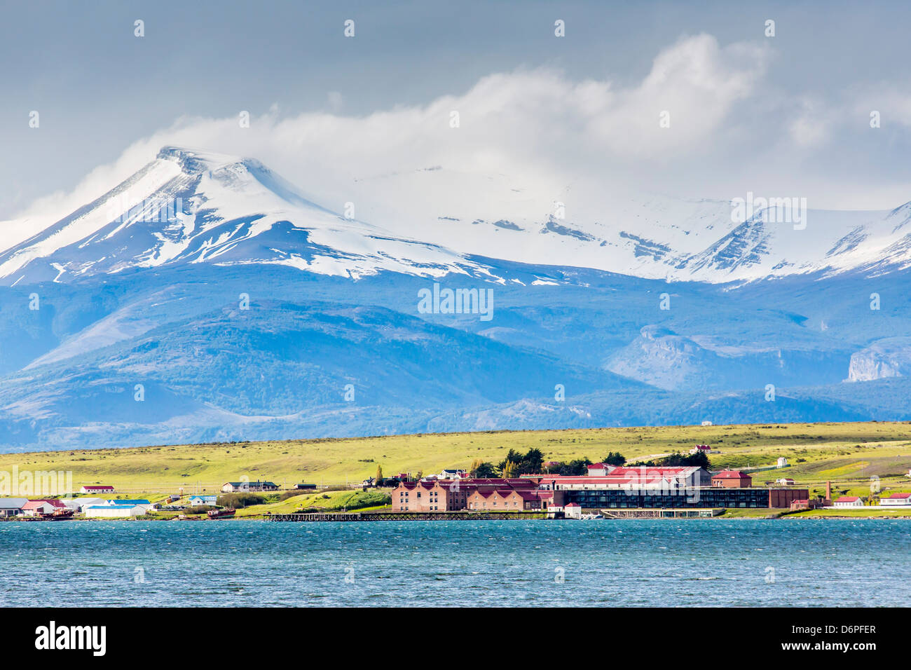 The harbour town of Puerto Natales, Patagonia, Chile, South America - Stock Image