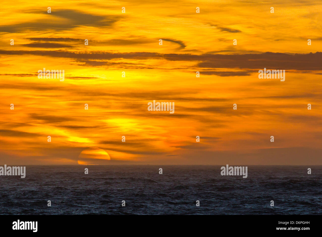 Sunset over South Georgia, U.K. Overseas Protectorate, South Atlantic Ocean, Polar Regions - Stock Image