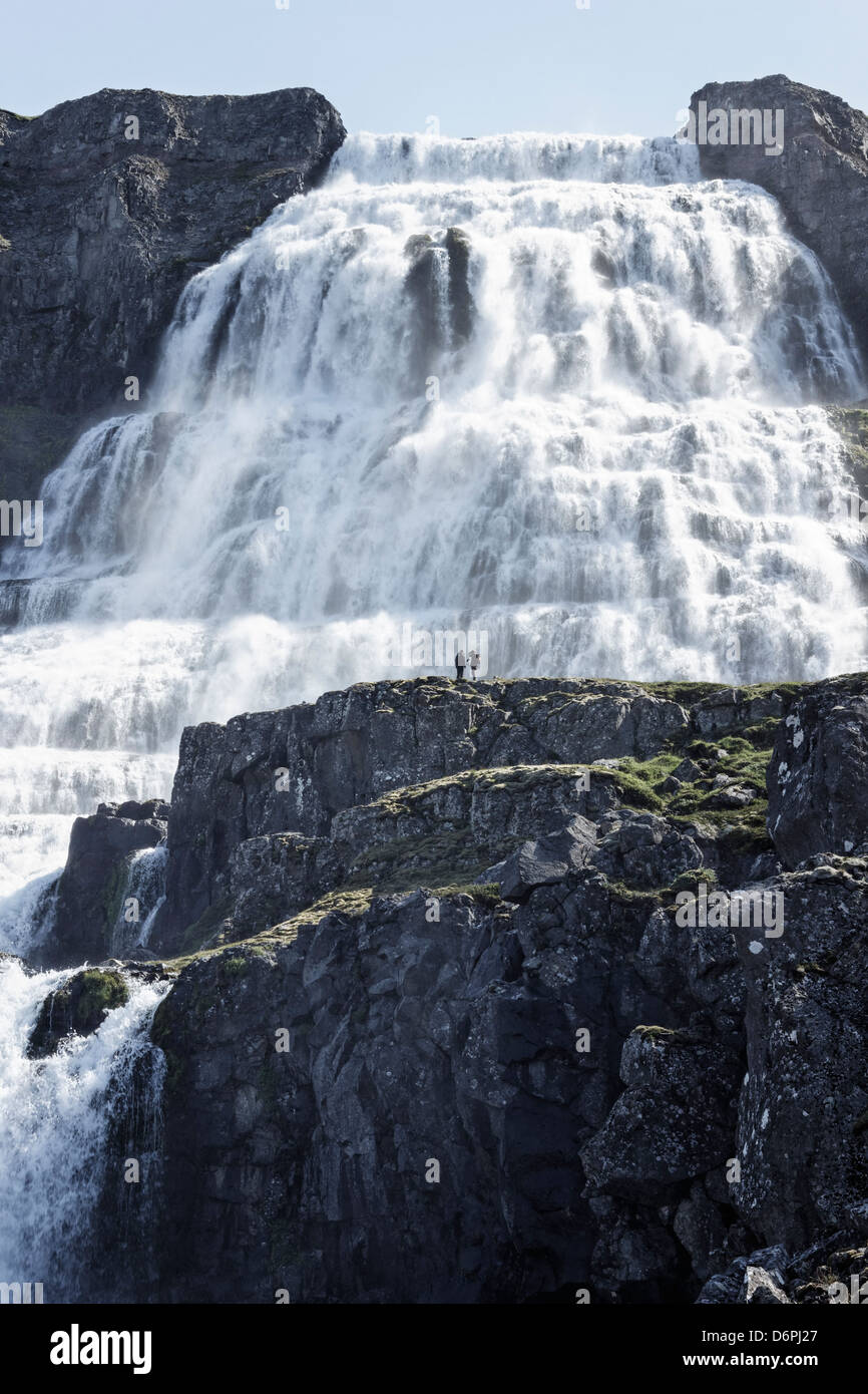 Dynjandi is an epic waterfall in the westfjords of Iceland. - Stock Image