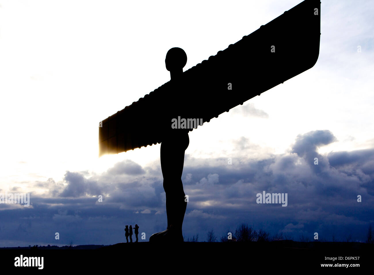 Angel of the North with people giving sense of perspective - Stock Image