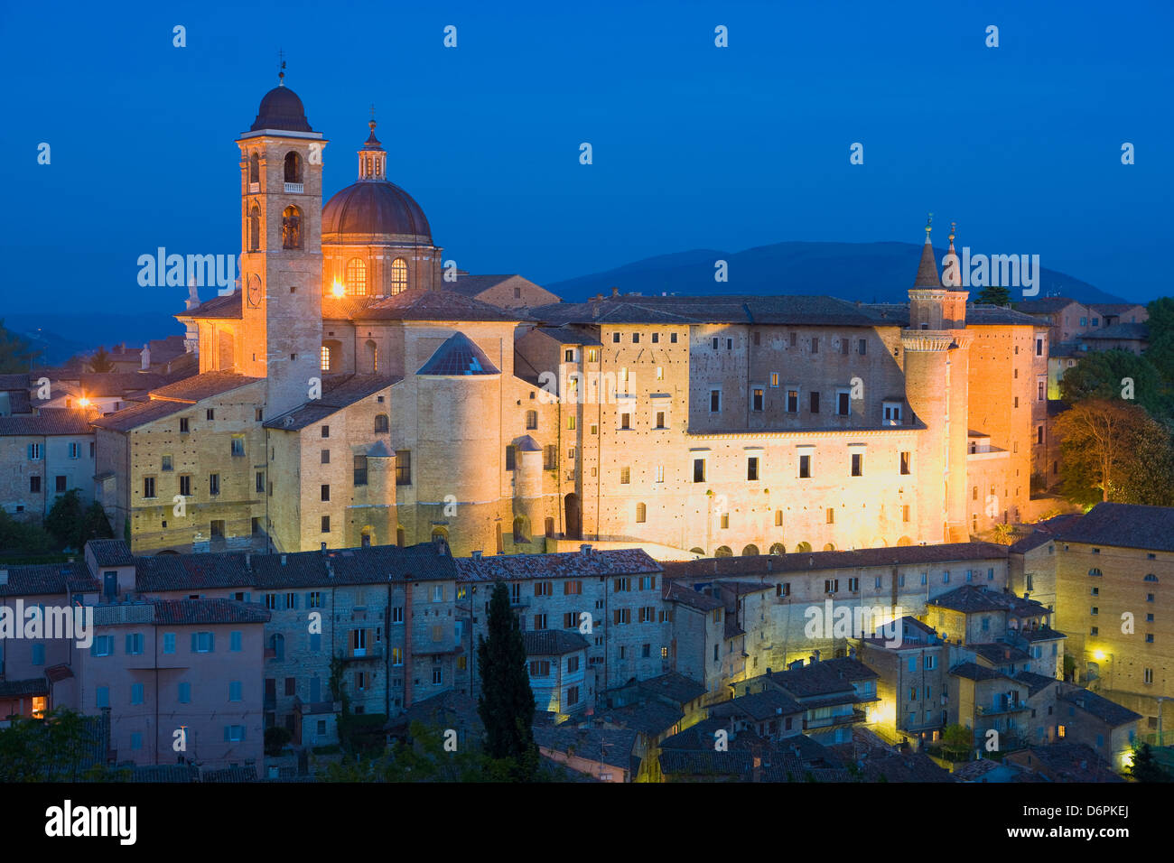 Ducal Palace at night, Urbino, Le Marche, Italy, Europe - Stock Image
