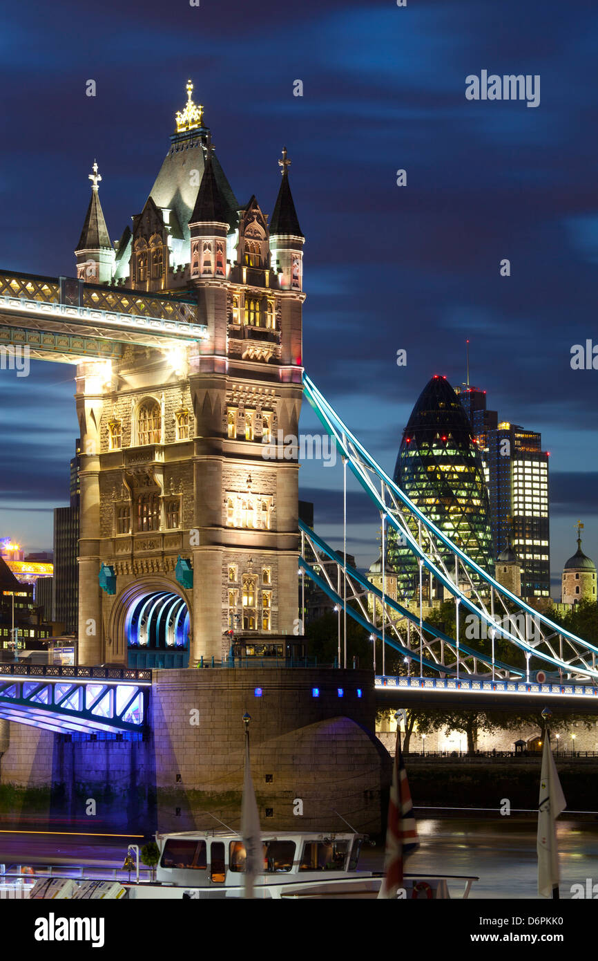 Tower Bridge and the Financial District at night, London, England, United Kingdom, Europe - Stock Image