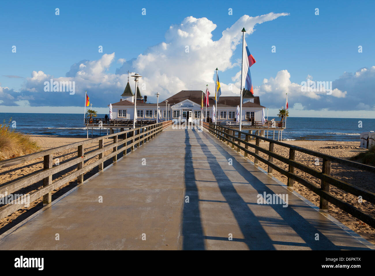 Historic Pier in Ahlbeck on the Island of Usedom, Baltic Coast, Mecklenburg-Vorpommern, Germany, Europe - Stock Image