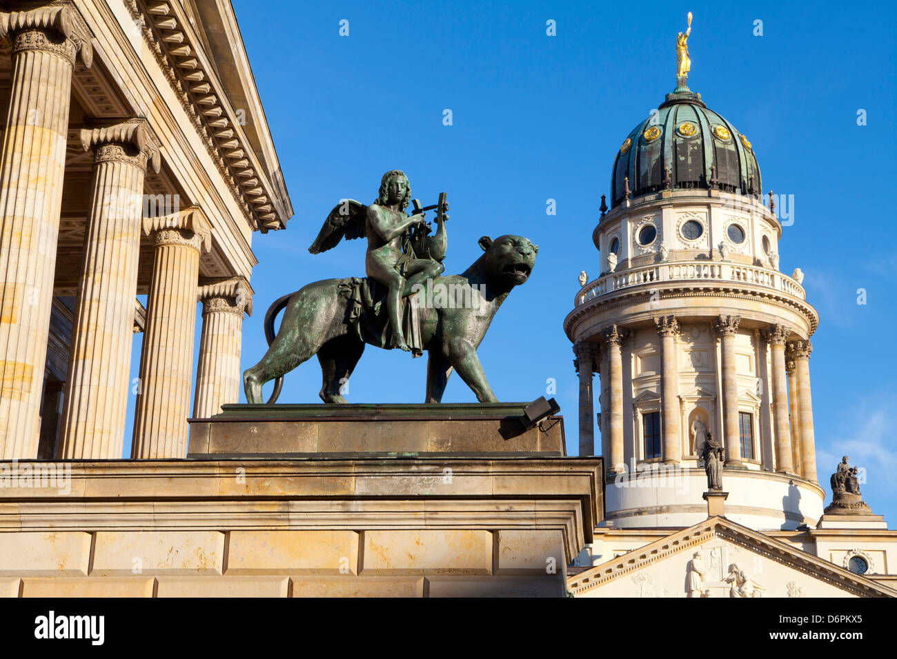 Sculpture of Tieck with the Theatre and Franzosisch (French) Church in the background, Gendarmenmarkt, Berlin, Germany, Stock Photo