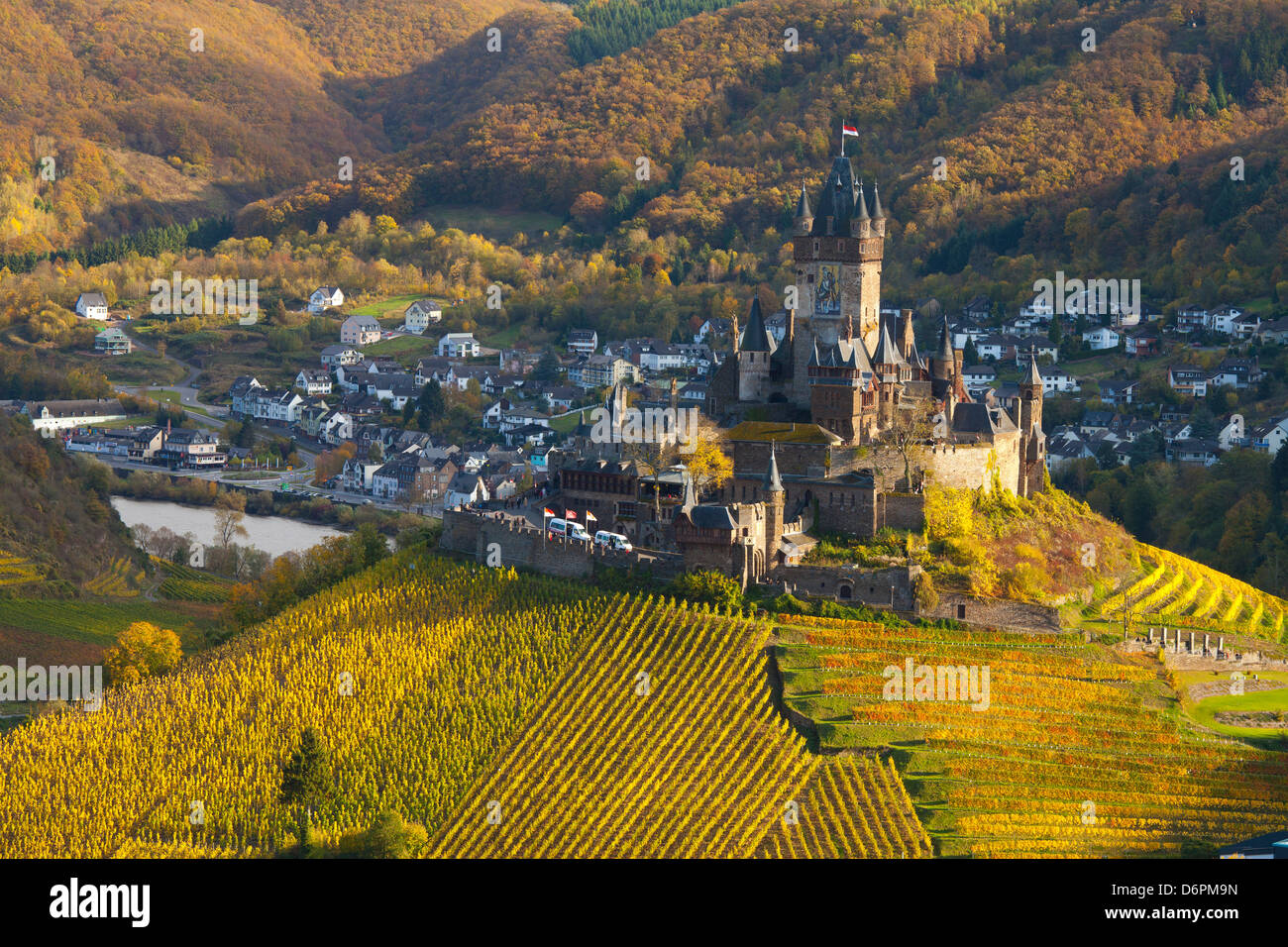 View over Cochem Castle and the Mosel River Valley in autumn, Cochem, Rheinland-Pfalz (Rhineland-Palatinate), Germany, - Stock Image