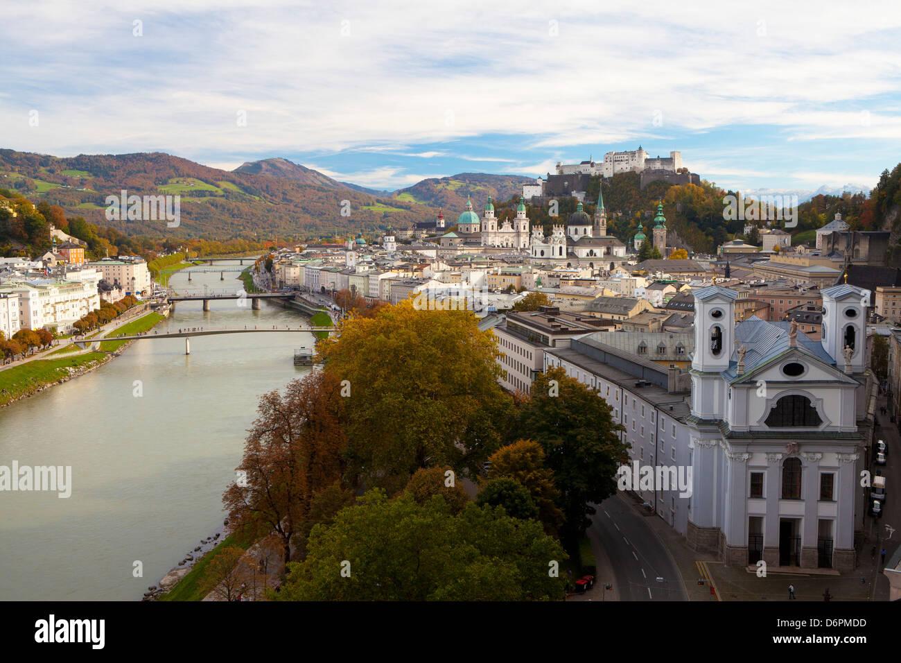 Overview of Salzburg in autumn, Salzburg, Austria, Europe - Stock Image
