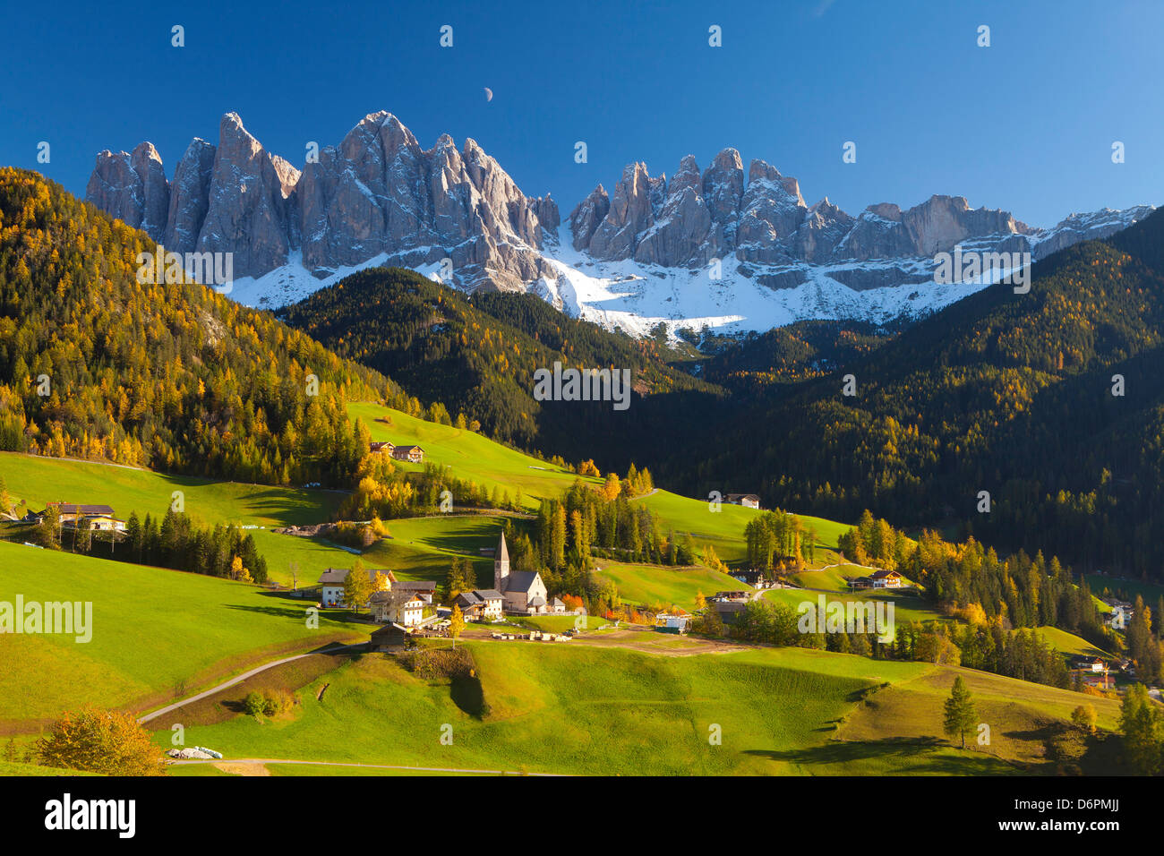 St. Magdalena, Val di Funes, Trentino-Alto Adige, Dolomites, South Tyrol, Italy, Europe - Stock Image