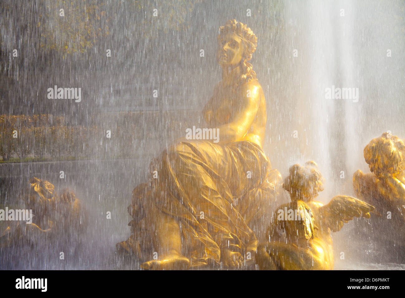 Water fountain at Linderhof Palace, Bavaria, Germany, Europe - Stock Image