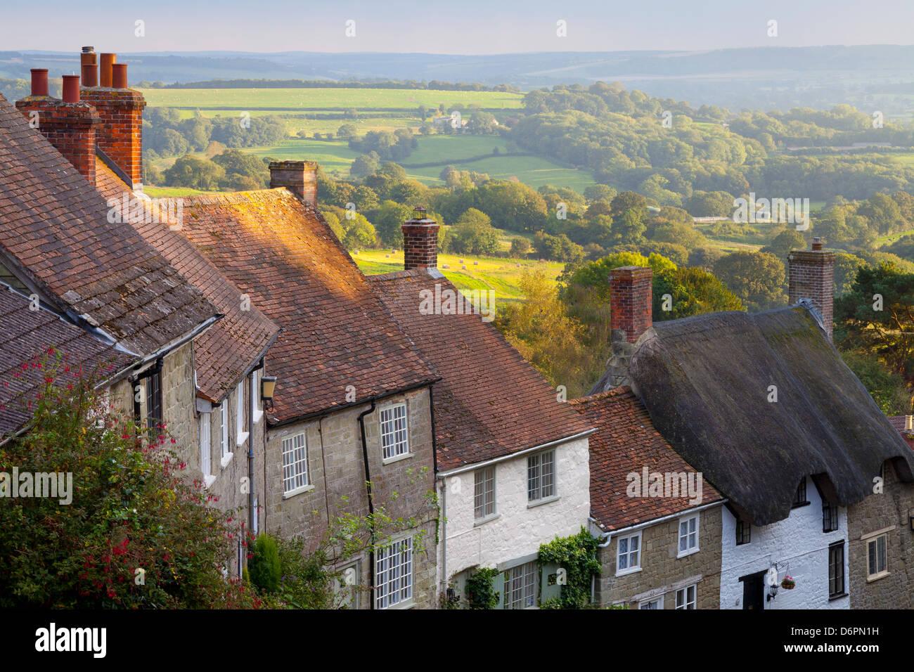 Houses along Gold Hill, Shaftesbury, Dorset, England, United Kingdom, Europe - Stock Image
