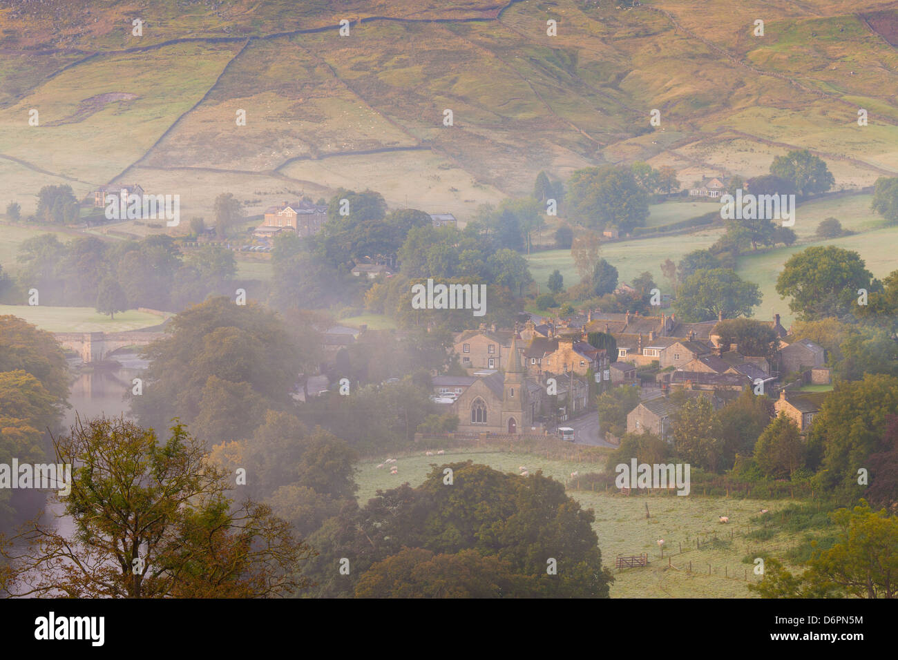 View over Burnsall, Yorkshire Dales National Park, Yorkshire, England, United Kingdom, Europe - Stock Image