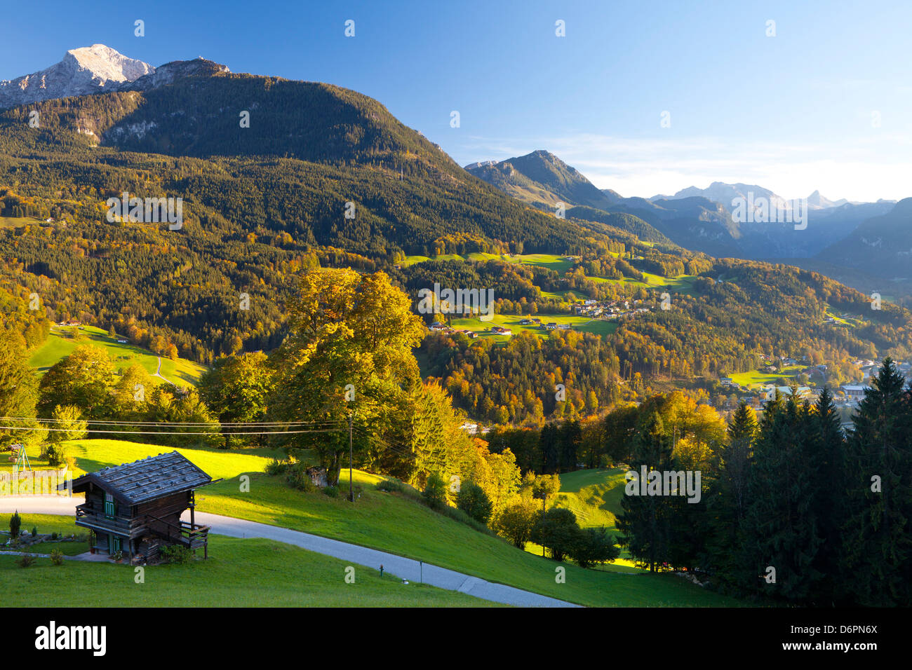 Overview of Berchtesgaden, Bavaria, Germany, Europe - Stock Image