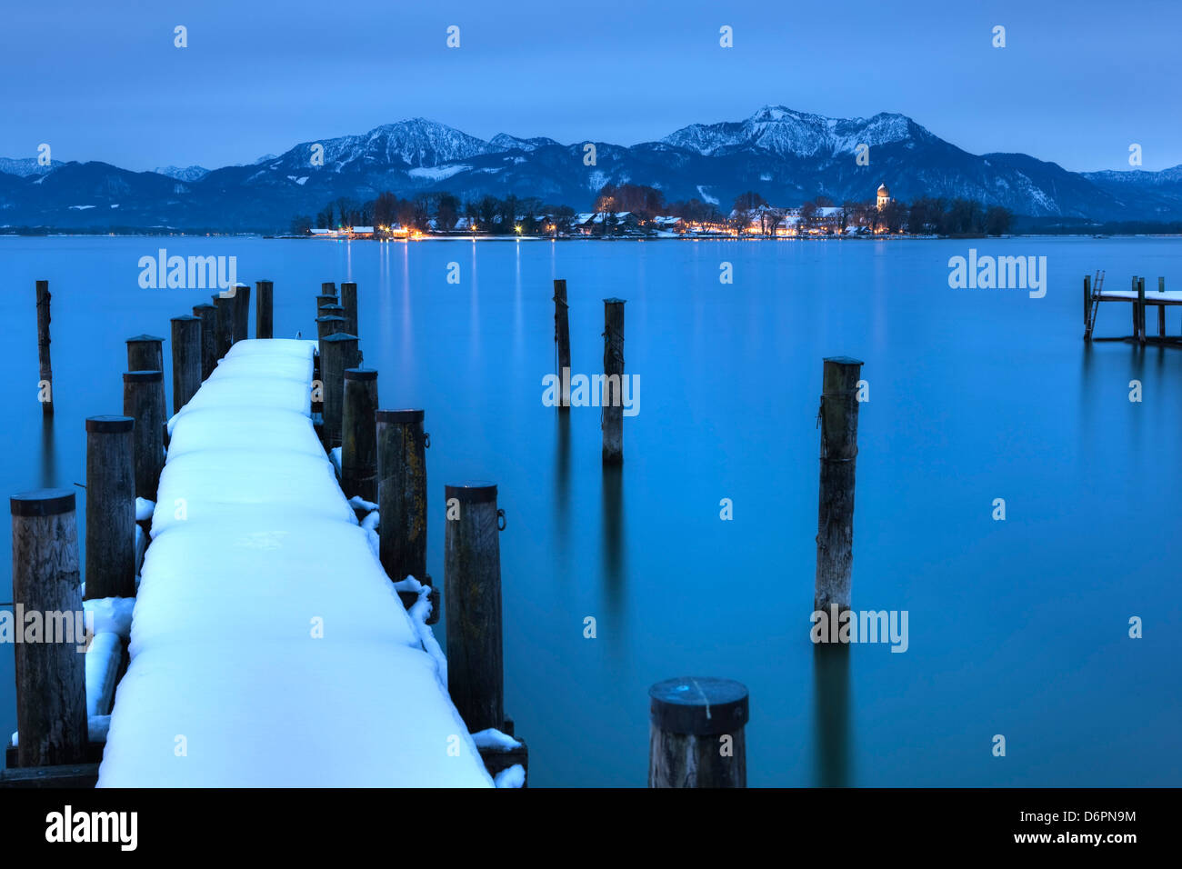 View of Frauen Island from the shore of Lake Chiemsee, Bavaria, Germany, Europe - Stock Image