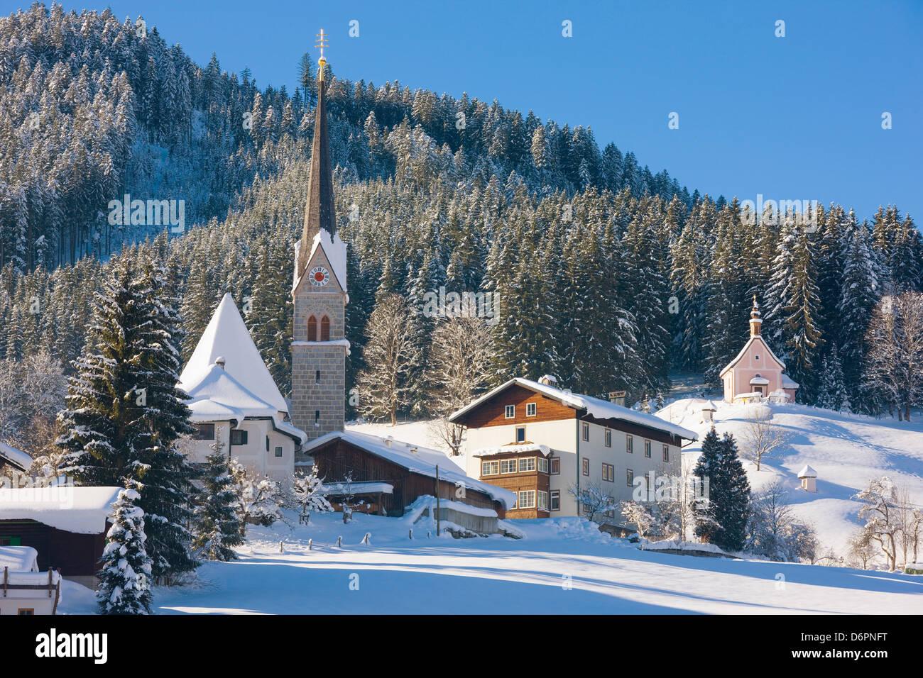 Gosau in winter, Gosau, Salzkammergut, Austria, Europe Stock Photo