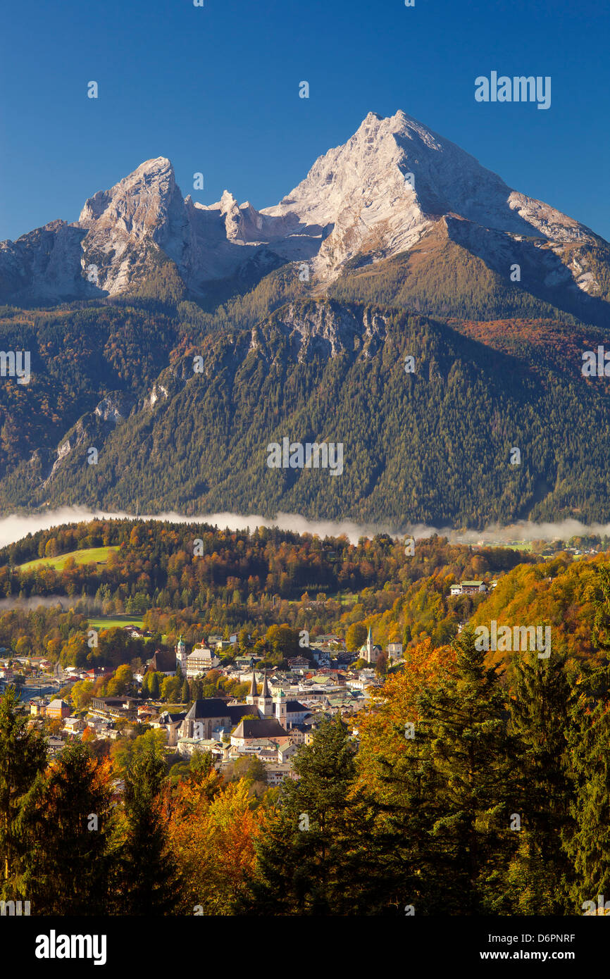 Overview of Berchtesgaden in autumn with the Watzmann mountain in the background, Berchtesgaden, Bavaria, Germany, - Stock Image