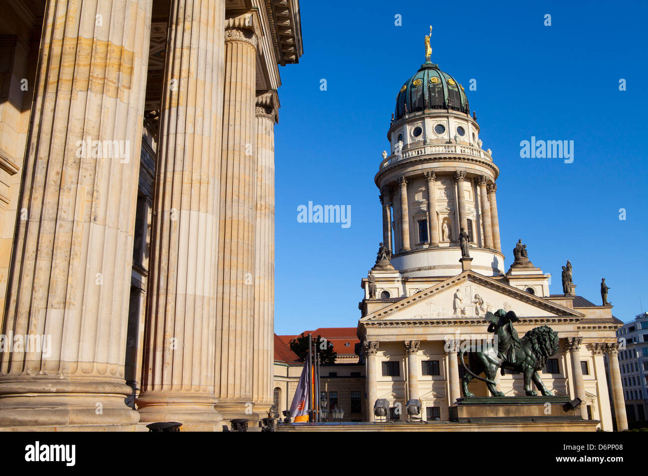 Theatre with Franzosisch (French) Church in the background, Gendarmenmarkt, Berlin, Germany, Europe Stock Photo