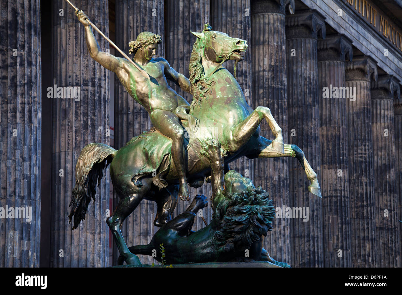 Statue of a rider on a horse in front of the Altes Museum, Berlin, Germany, Europe - Stock Image