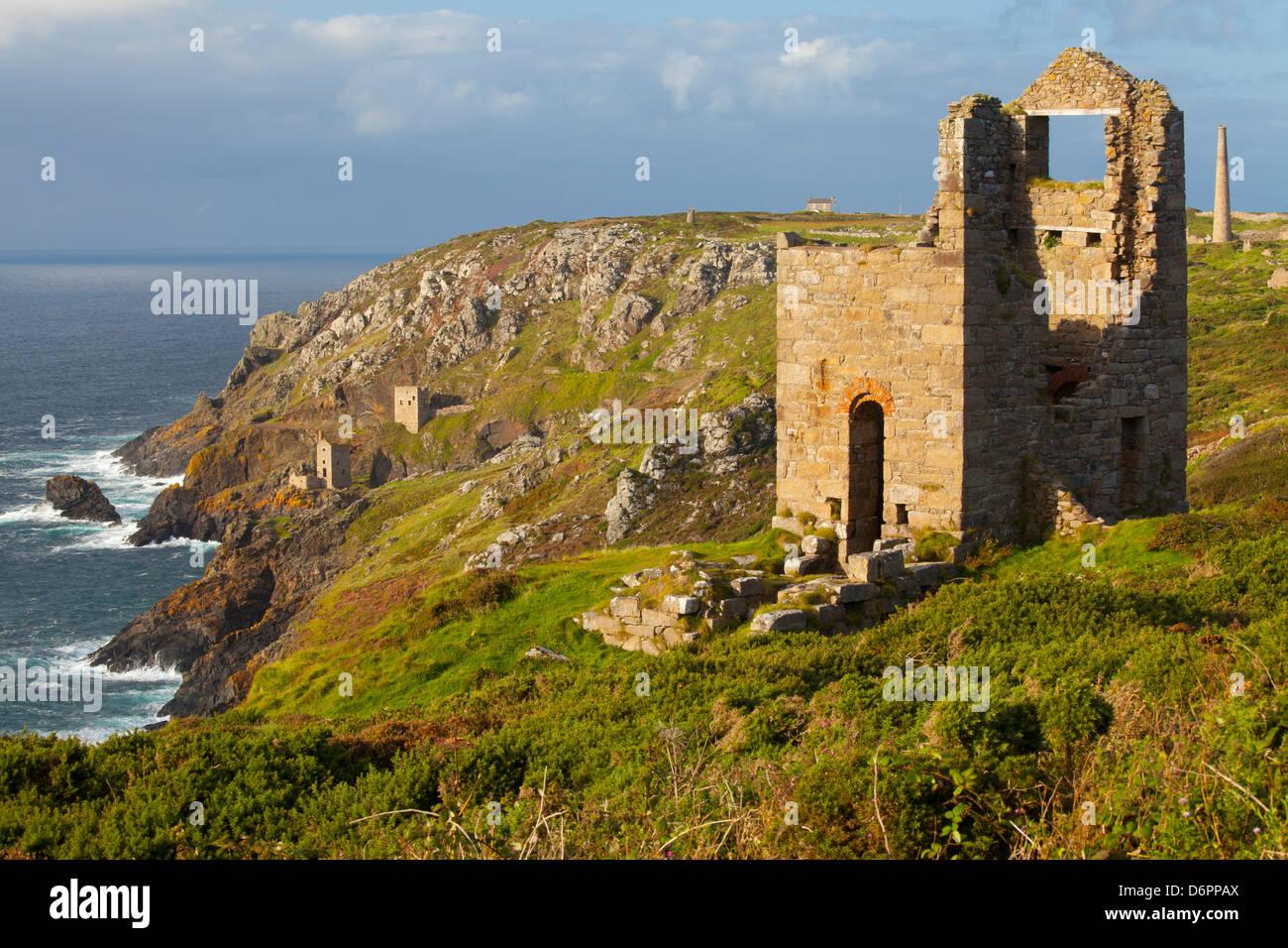 Abandoned Tin Mine near Botallack, UNESCO World Heritage Site, and rocky coast, Cornwall, England, United Kingdom, - Stock Image