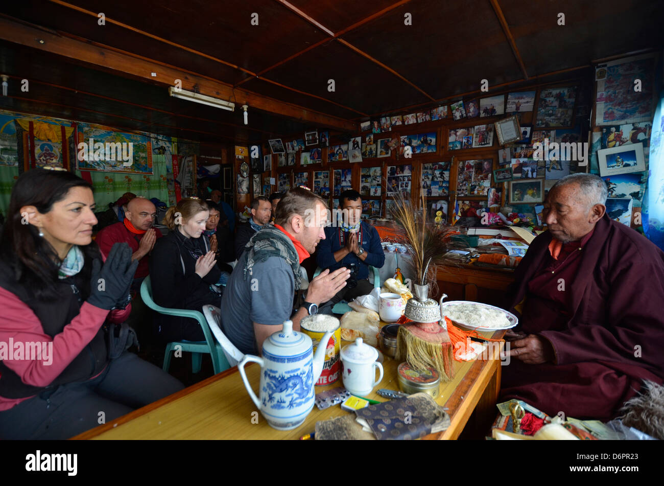 expedition ceremony with a lama Solu Khumbu Everest Region, Sagarmatha National Park, Himalayas, Nepal, Asia - Stock Image