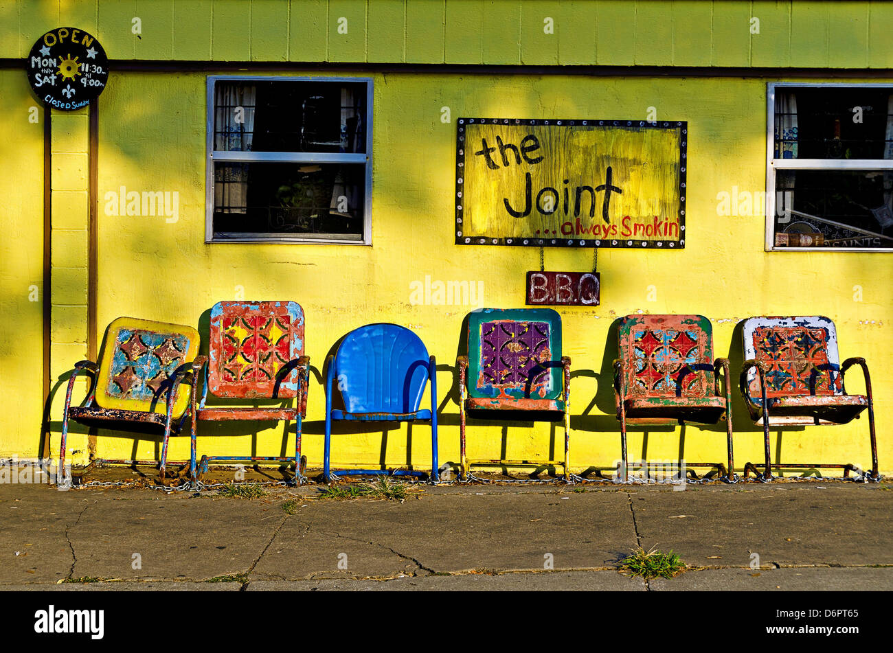 Colorful chairs at a bar-be-que restaurant, The Joint, Bywater ...