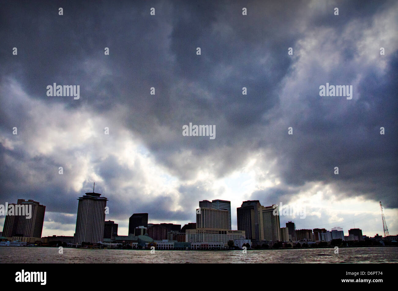 City Skyline Viewed Algiers Point During An Extremely High