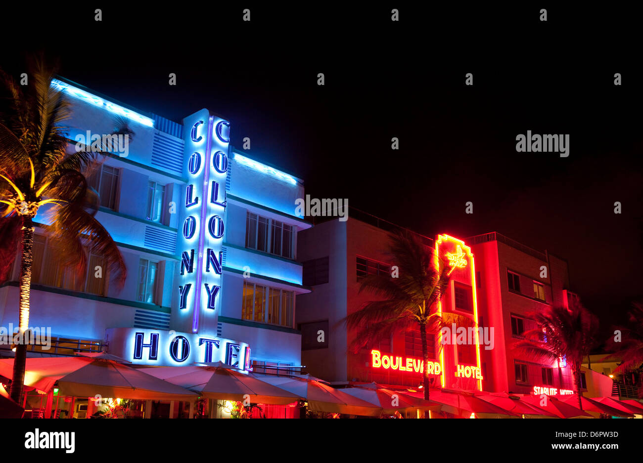 Neon signs lit up at night, Art Deco District, South Beach, Miami