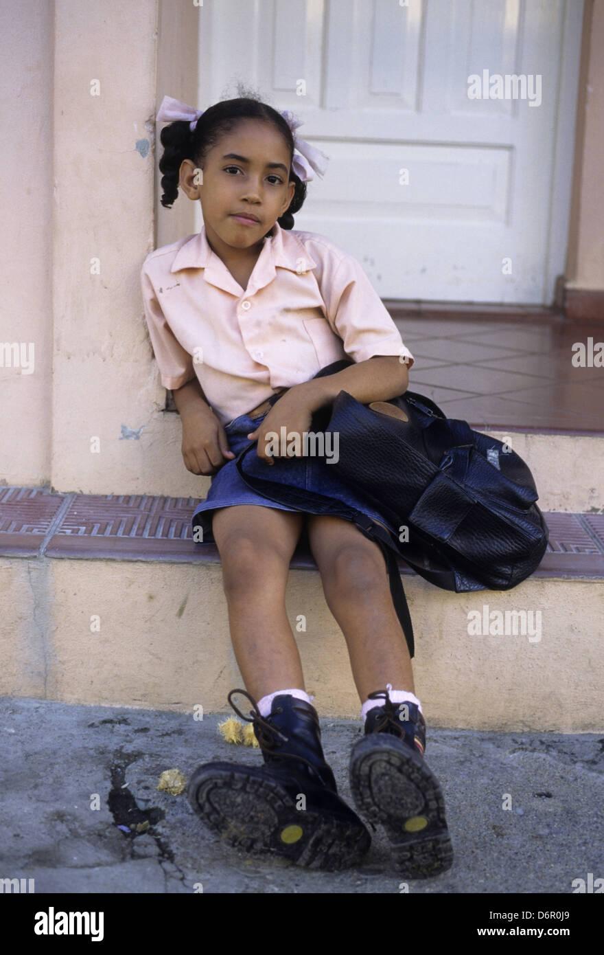 Schoolgirl Puerto Plata Dominican Republic - Stock Image