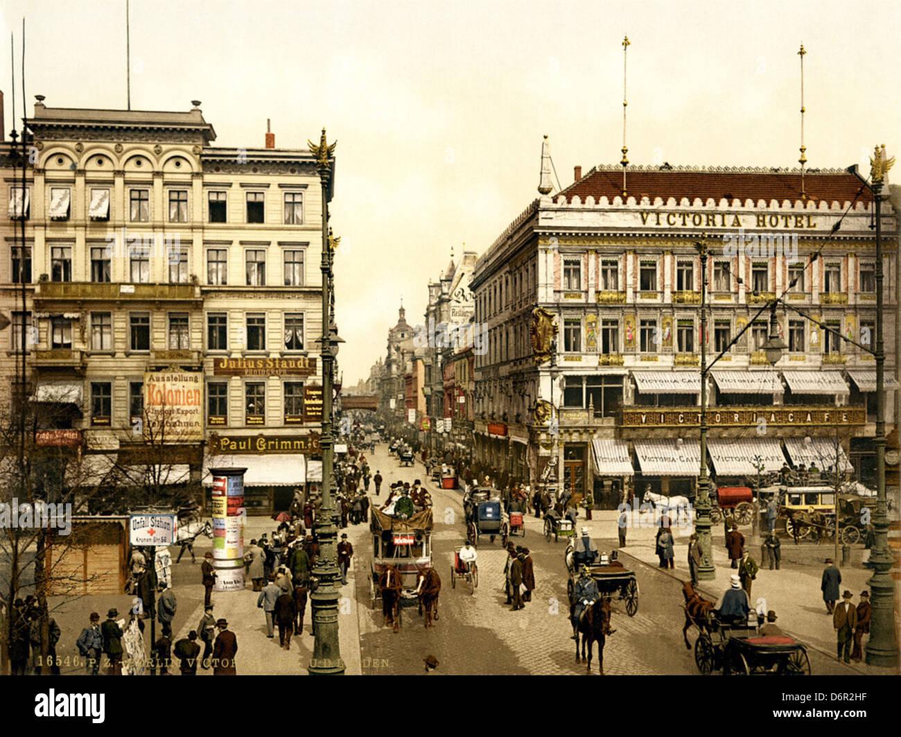 Victoria Hotel, Unter den Linden, Berlin, ca. 1900 - Stock Image