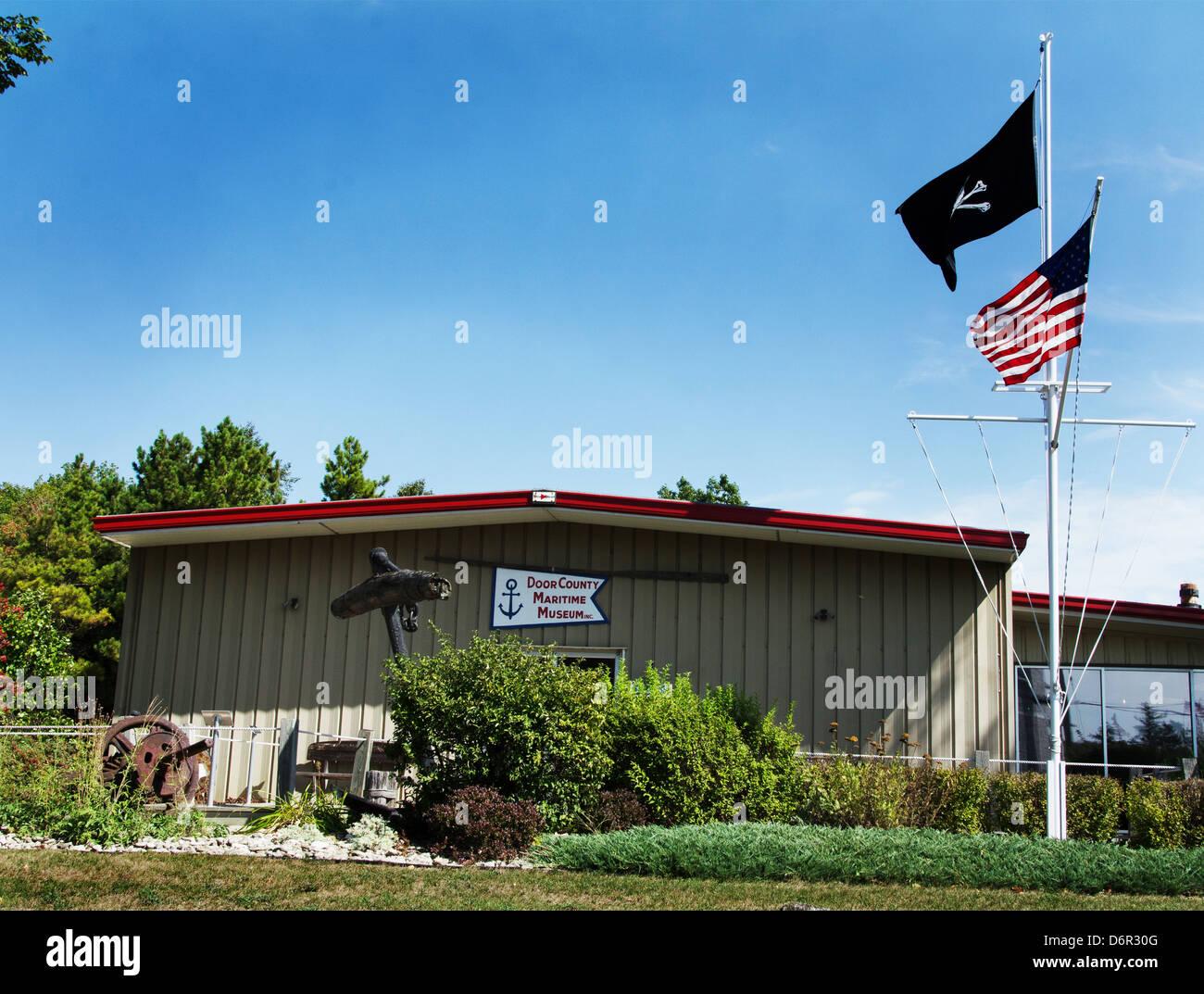 Door County Maritime Museum in Gills Rock, Wisconsin tells the story of the fishing industry in Door County. - Stock Image