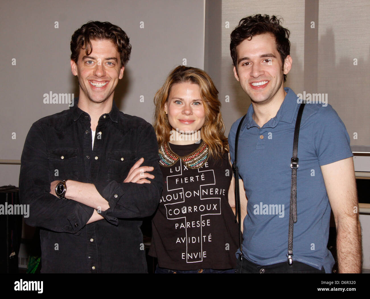 Christian Borle, Celia Keenan-Bolger and Adam Chanler-Berat Meet and greet with the cast and creative team of the - Stock Image