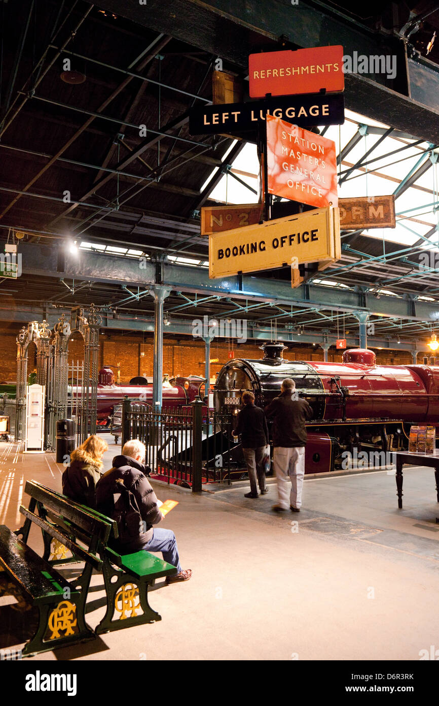 Visitors in the National Railway Museum, York, UK - Stock Image