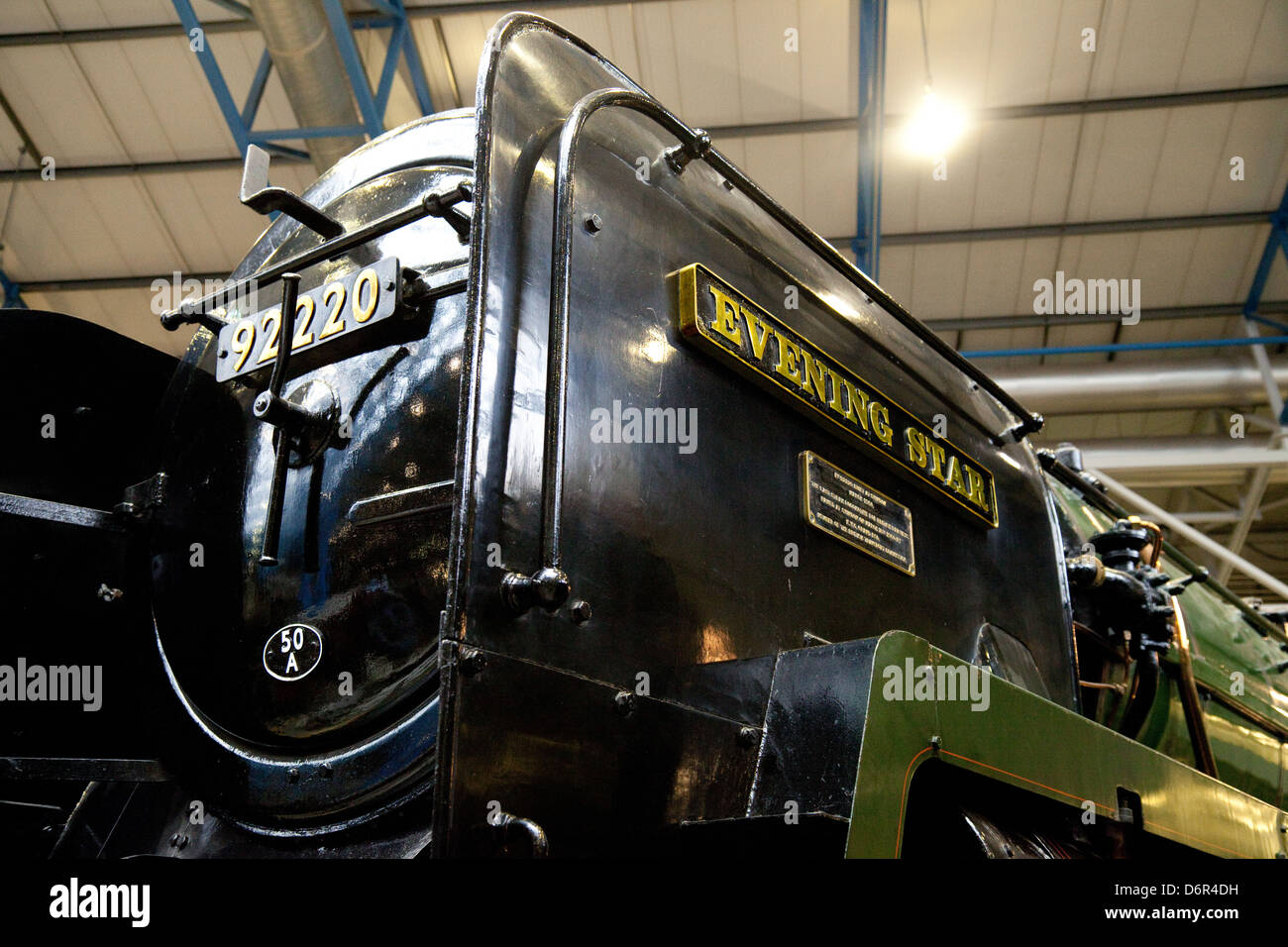 The 'Evening Star', a 9F Class steam engine locomotive, the National Railway Museum, York UK - Stock Image