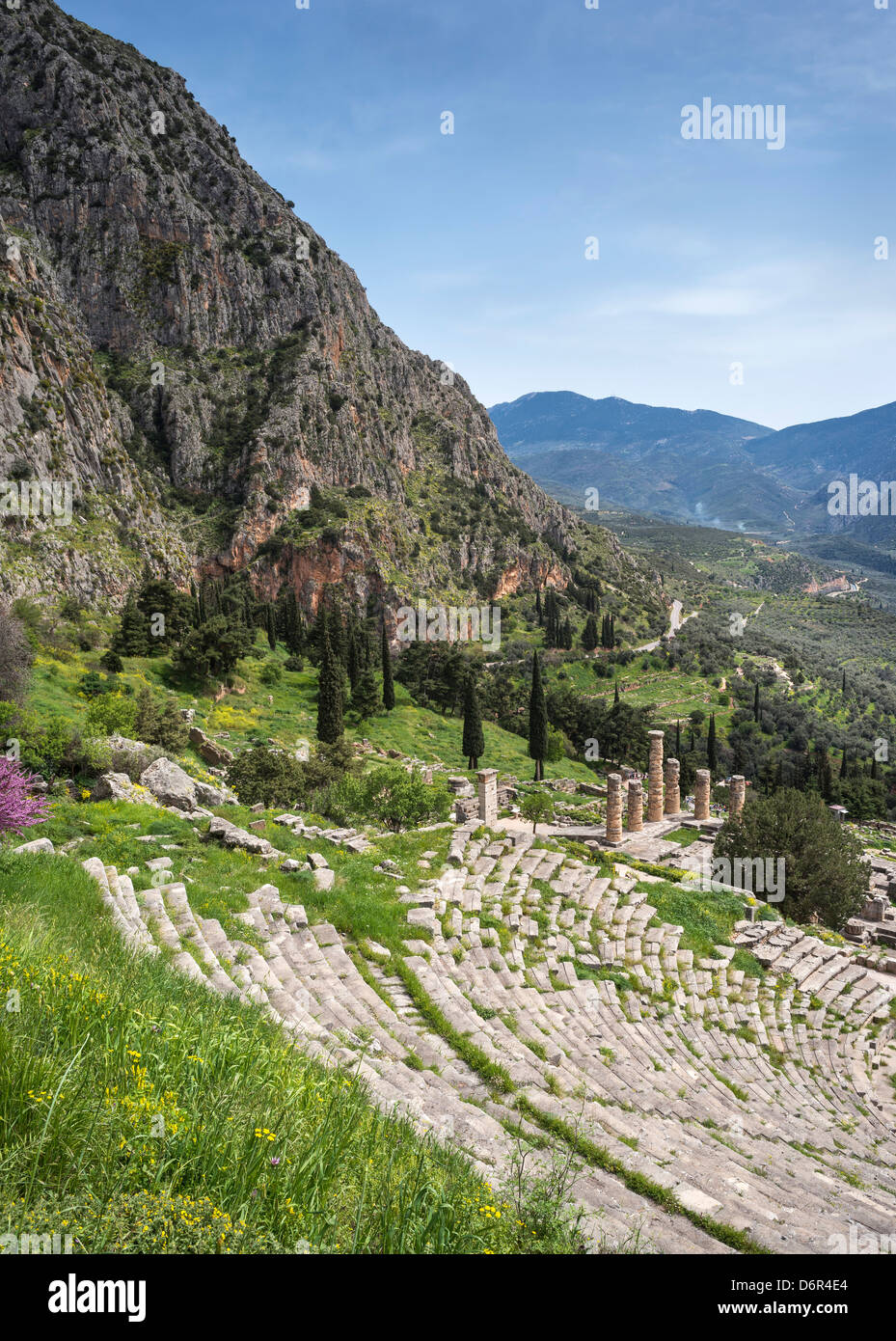 the Temple of Apollo and theater at the ancient site of Delphi set on the slopes of Mount Parnassus, in Thessaly, Stock Photo