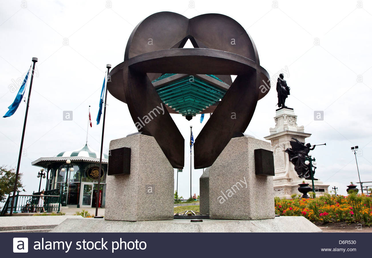 Monument to World Heritage Designation on the Dufferin Terrace, Quebec City, Quebec, Canada - Stock Image