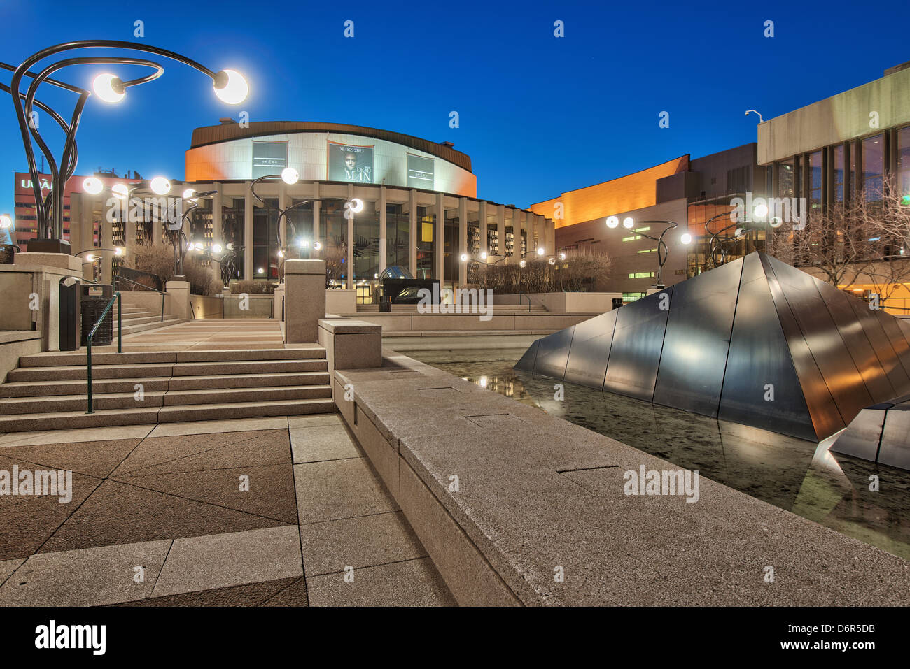 salle wilfried-pelletier and esplanade of Place Des Arts, Quartier des Spectacles, Downtown Montreal, Quebec, Canada - Stock Image