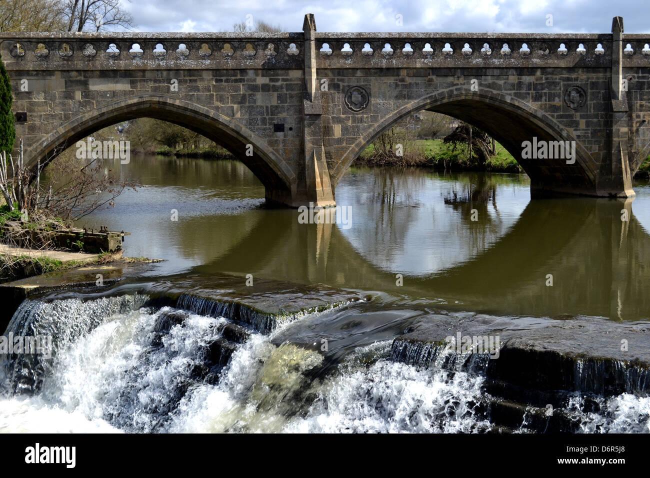 Bathampton Weir and Toll Bridge, also known as Batheaston Toll Bridge and Bathwick Weir. Stock Photo