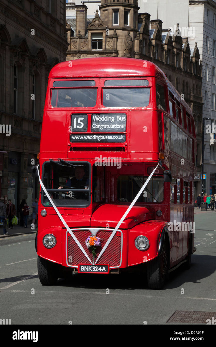 Classic Bus Routemaster RM1568, now used as Wedding Bus on the streets of Manchester, UK - Stock Image