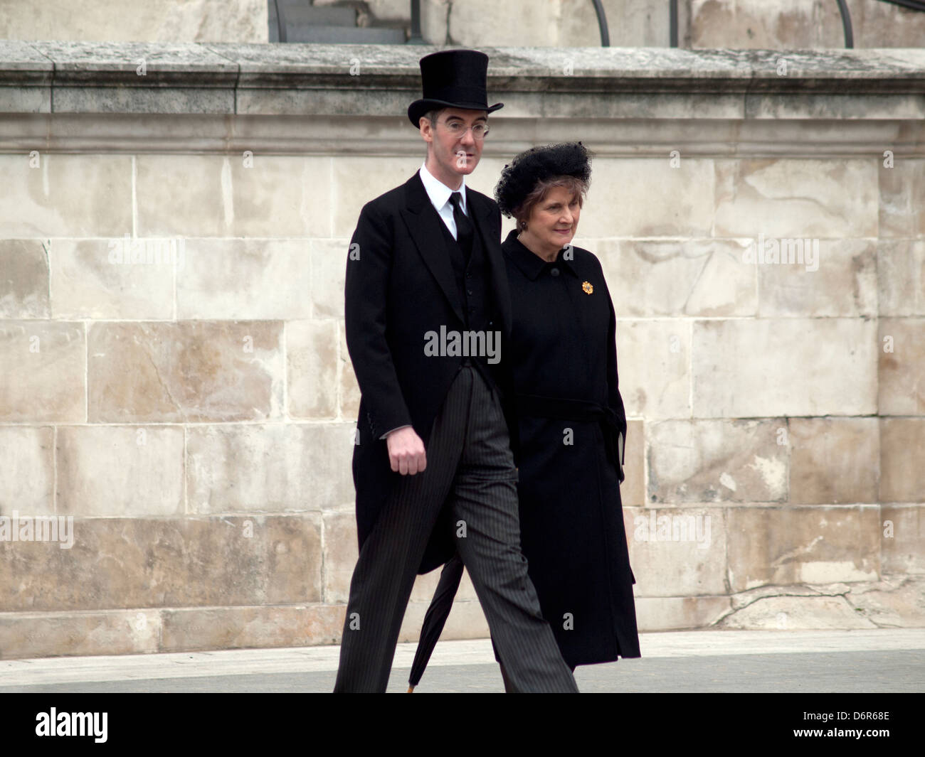 Mourners at the state funeral of Margaret Thatcher - Stock Image