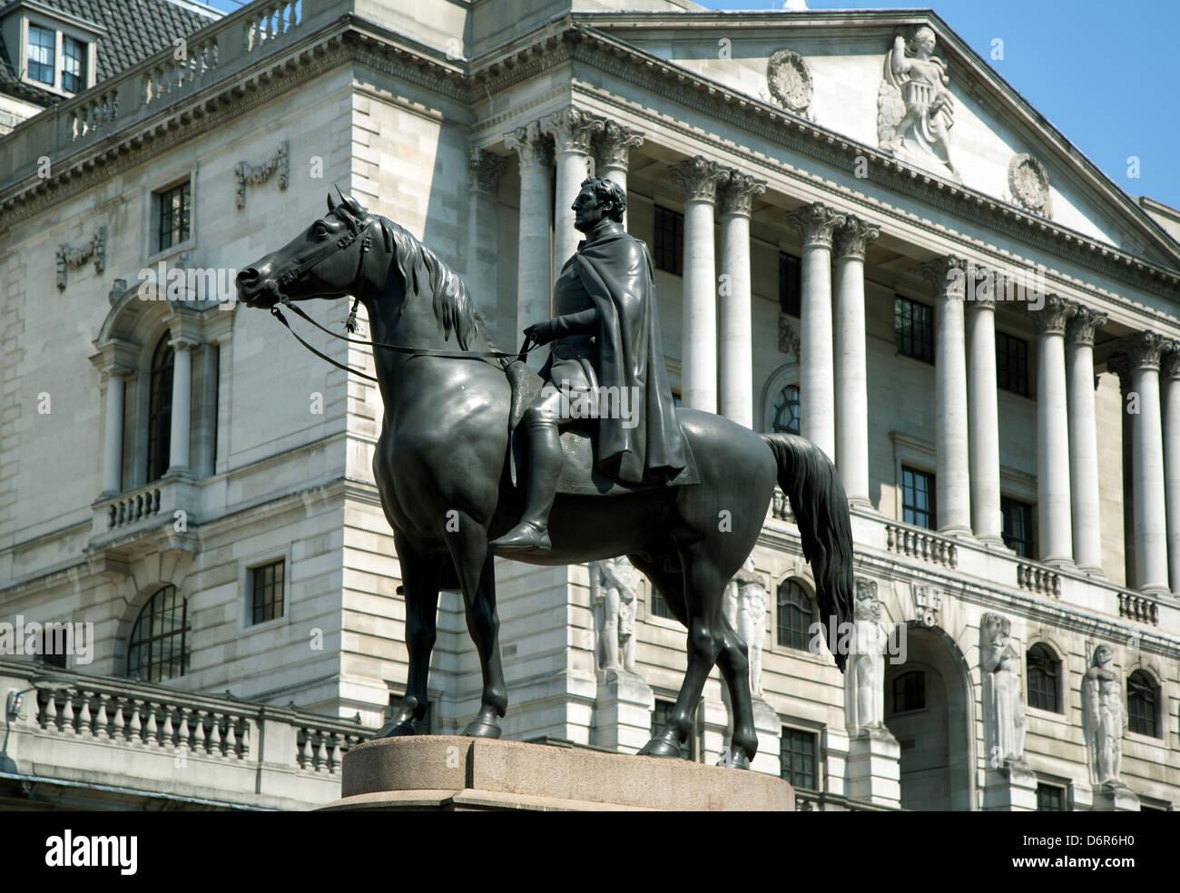 London, United Kingdom, equestrian statue of the Duke of Wellington - Stock Image