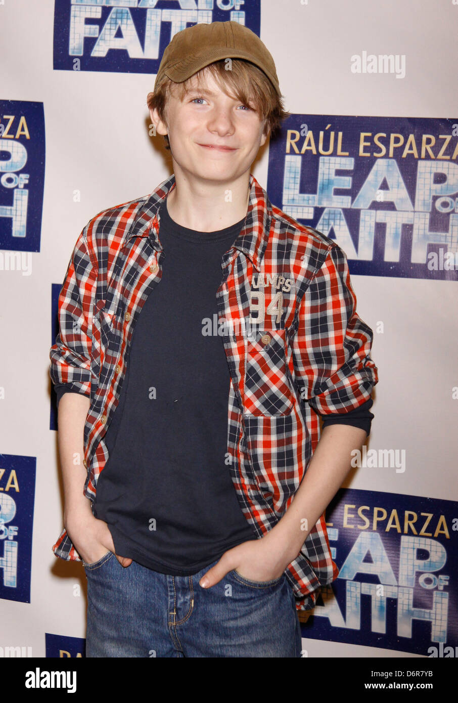 Talon Ackerman Photocall with the cast of the Broadway musical 'Leap Of Faith' at the New 42nd Street Studios - Stock Image