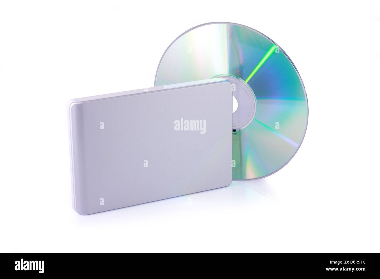 External hard disk and dvd isolated on white background. Including clipping path. - Stock Image