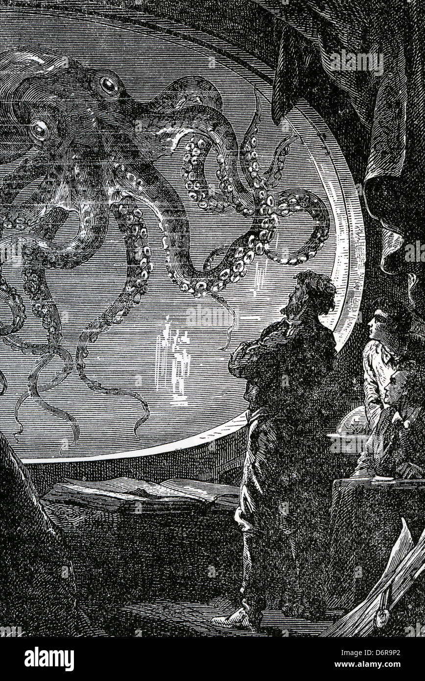 20,000 LEAGUES UNDER THE SEA  Illustration from 1870 novel by Jules Verne - Stock Image