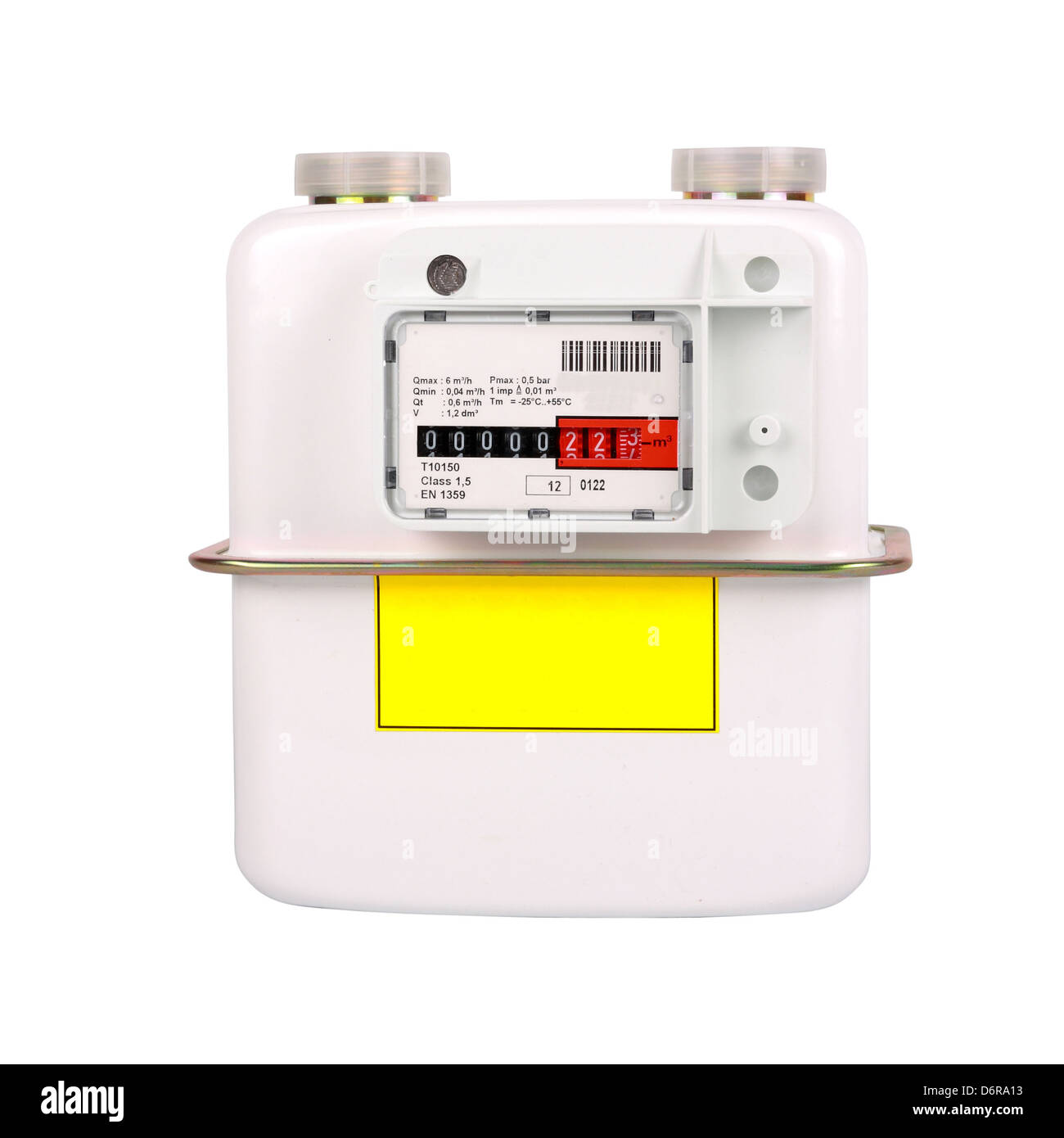 Natural Gas Meter. Isolated on white background. Including clipping path. All copyrighted elements removed. - Stock Image