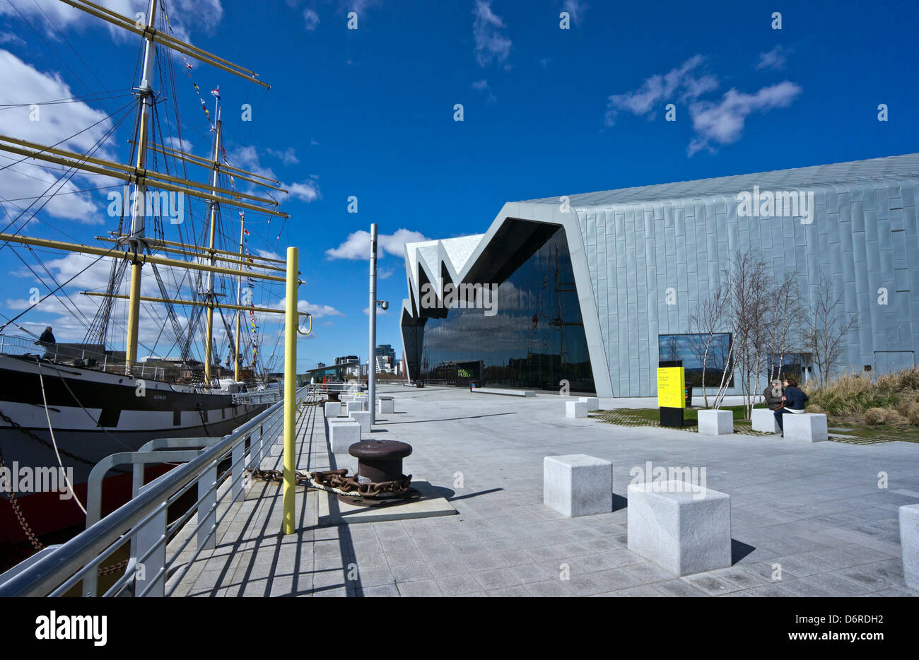 Newly built Riverside Museum on the River Clyde in Glasgow featuring exhibits depicting Scotland's history of - Stock Image