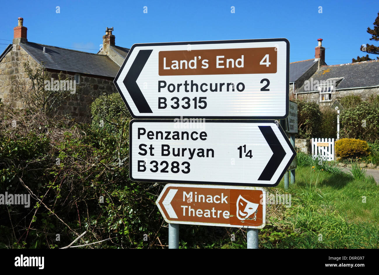 A roadside directions sign near Penzance in Cornwall, UK - Stock Image