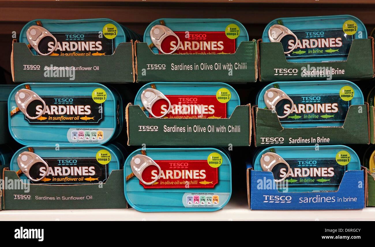 Tinned sardines at Tesco, UK - Stock Image